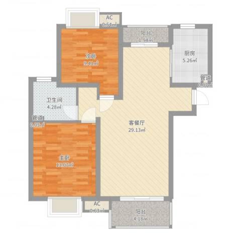 共富富都园2室2厅1卫1厨86.00㎡户型图