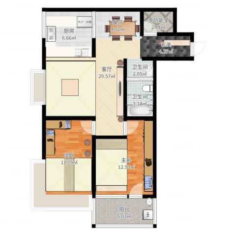 幸福香寓2室1厅1卫1厨89.00㎡户型图