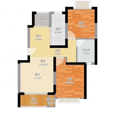 好日子大家园B区2室1厅1卫1厨66.00㎡户型图