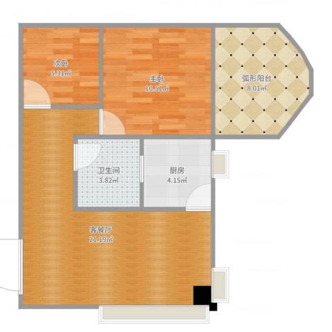 美新广场2室2厅1卫1厨66.00㎡户型图