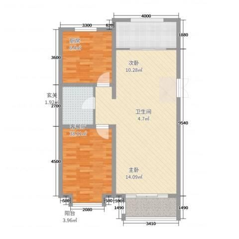 世家官邸2室2厅1卫1厨109.00㎡户型图