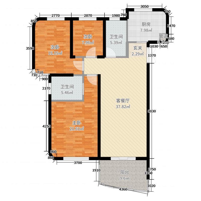 金都海尚国际139.00㎡7#楼A户型3室3厅2卫1厨