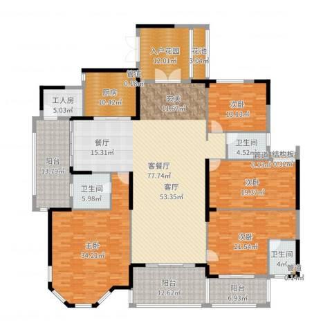 金海岸花园・聚湖4室2厅3卫1厨306.00㎡户型图