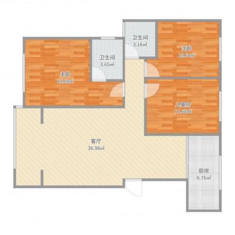 金都福邸1-2-7023室1厅2卫1厨110.00㎡户型图