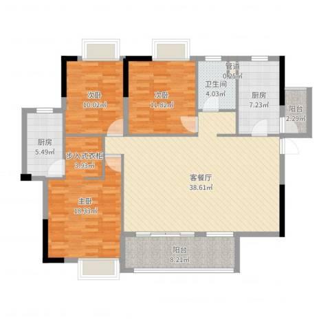 领地海纳天河花园3室2厅1卫2厨133.00㎡户型图