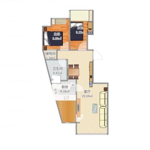 神龙小区2室1厅1卫1厨78.00㎡户型图