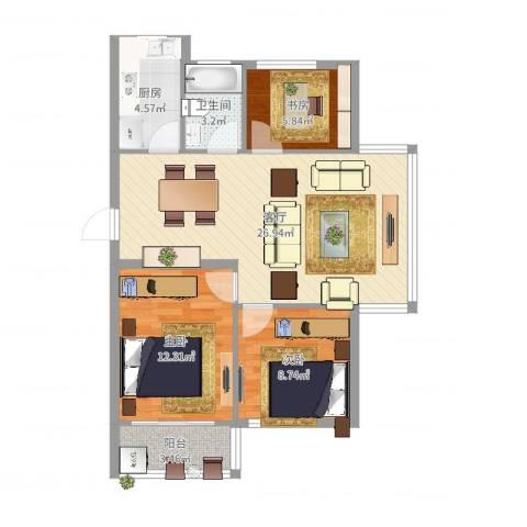 联丰北区3室1厅1卫1厨81.00㎡户型图
