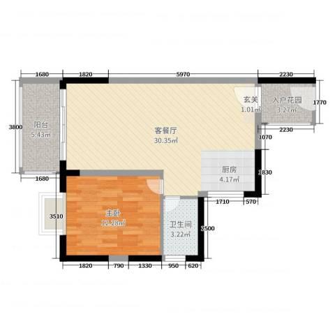丽冠雅居1室2厅1卫0厨68.00㎡户型图