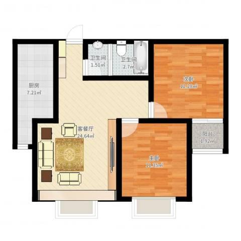 春天花园2室2厅2卫1厨77.00㎡户型图