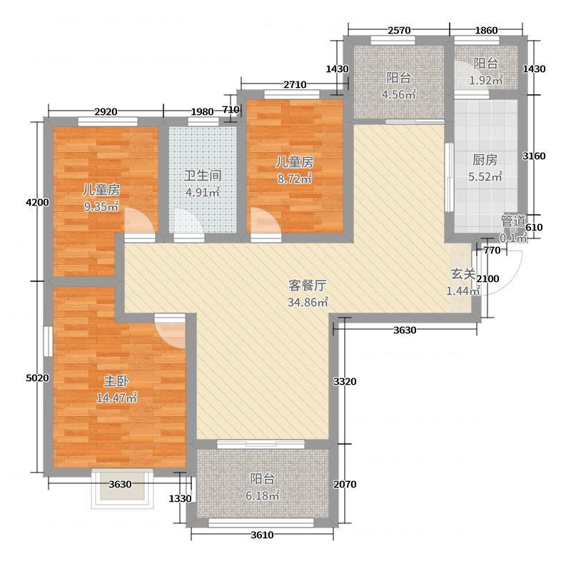 万德德盛苑113.00㎡15号楼三居室户型3室3厅1卫1厨