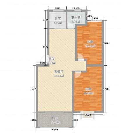 绿景水岸二期2室2厅1卫1厨105.00㎡户型图