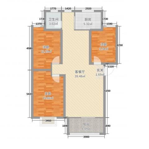 绿景水岸二期3室2厅1卫1厨115.00㎡户型图