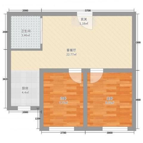 人禾金华苑2室2厅1卫0厨54.00㎡户型图