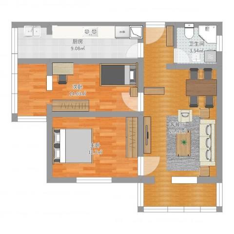 东旭园2室2厅1卫1厨84.00㎡户型图