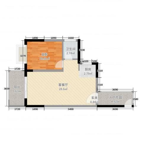 丽冠雅居1室2厅1卫0厨66.00㎡户型图
