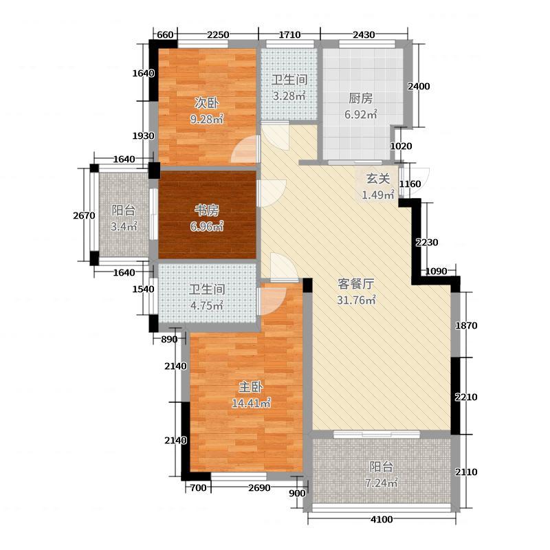 钻石铭苑110.26㎡二期高层H1F户型3室3厅2卫