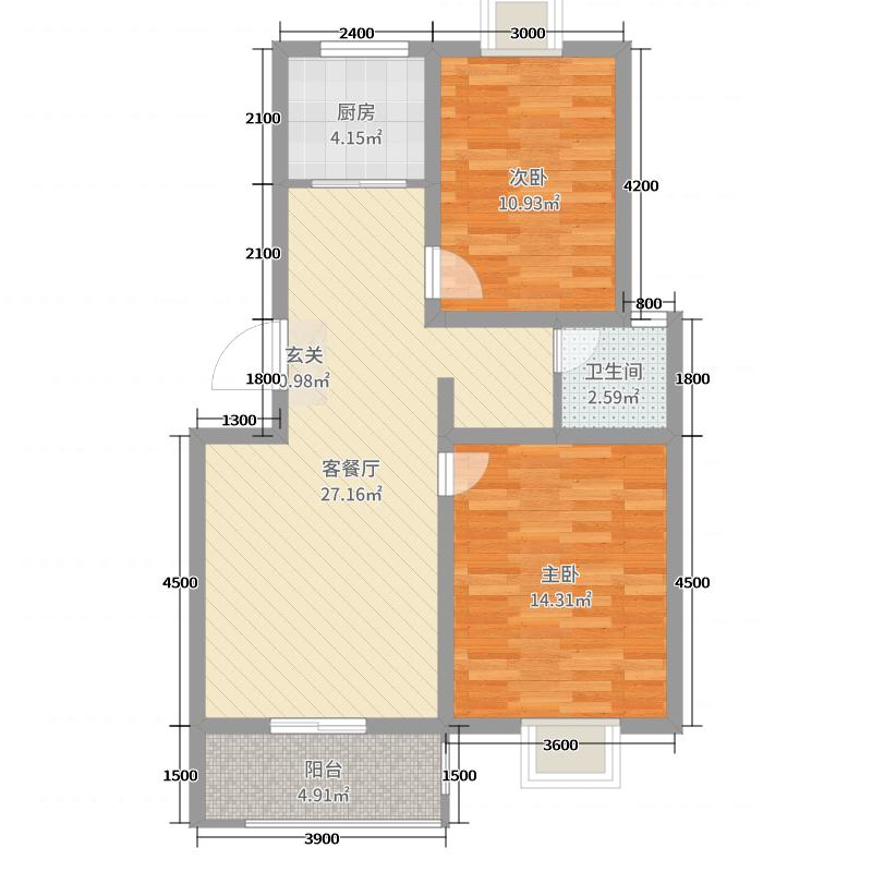 利民花园80.00㎡小高层标准层A户型2室2厅1卫1厨