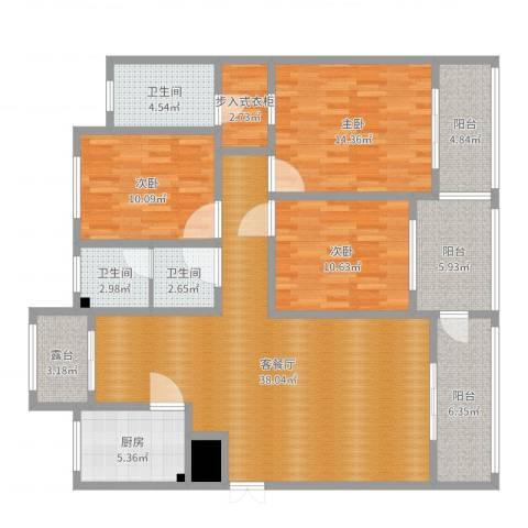 腾运世元3室2厅3卫1厨112.57㎡户型图