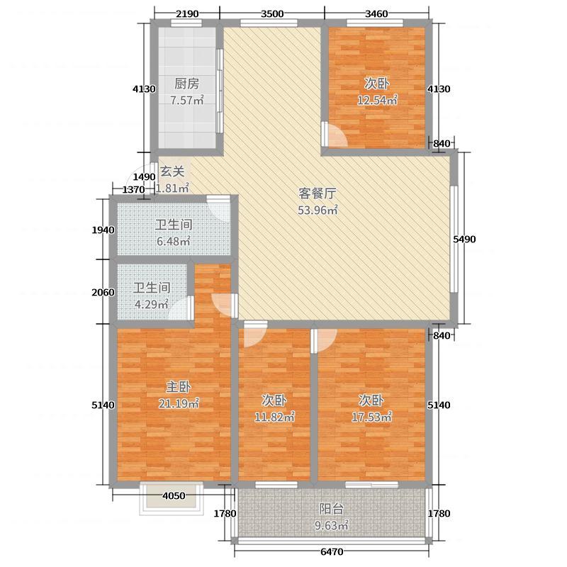 久安瑞华苑181.33㎡C户型4室4厅2卫1厨