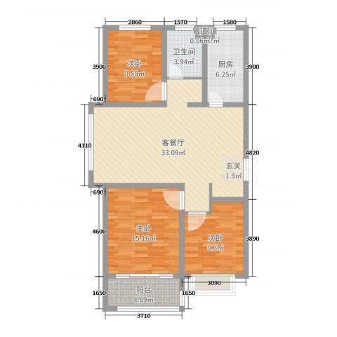 淮海・东城御景3室2厅1卫1厨107.00㎡户型图