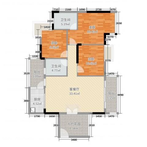 金沙假日广场3室2厅2卫1厨120.00㎡户型图
