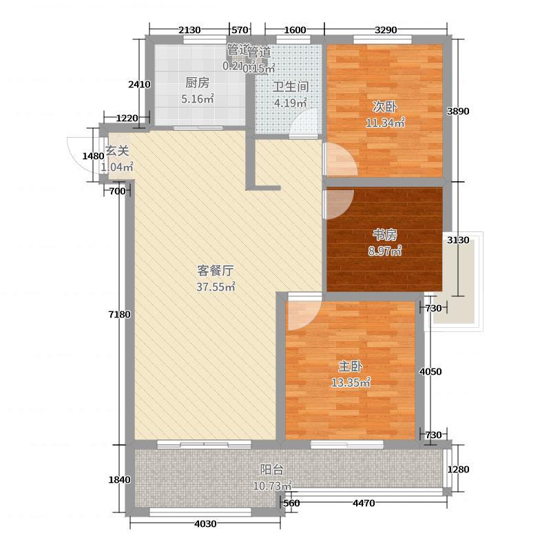 绿地世纪城115.00㎡五期C区212#标准层边户户型3室3厅1卫1厨