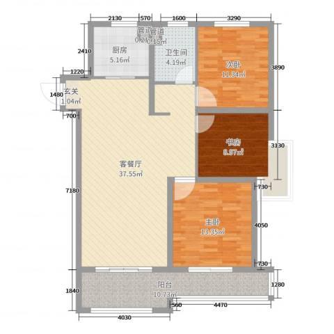 绿地世纪城3室2厅1卫1厨115.00㎡户型图