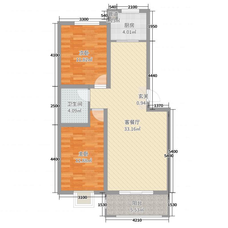 荷兰小镇92.20㎡瀛台户型2室2厅1卫1厨