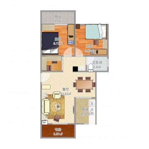 黄石花园3室1厅1卫1厨71.00㎡户型图