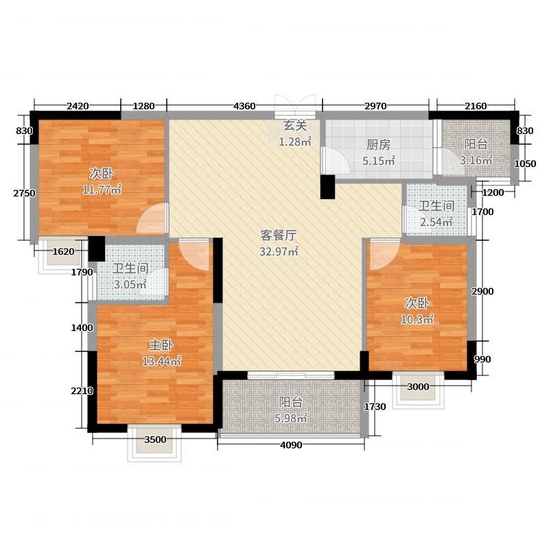 津市新天地119.63㎡户型3室3厅2卫1厨