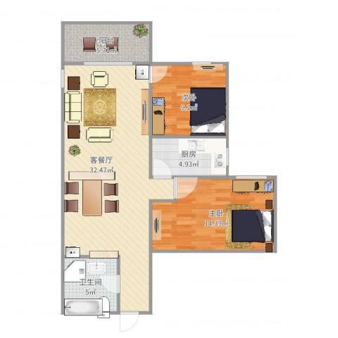 北苑家园绣菊园2室2厅1卫1厨90.00㎡户型图