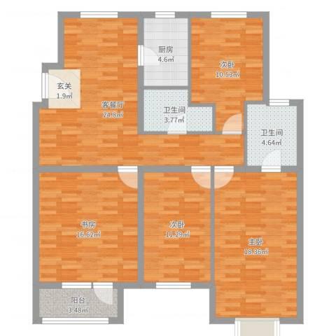 秦皇岛华润橡树湾4室2厅2卫1厨123.00㎡户型图
