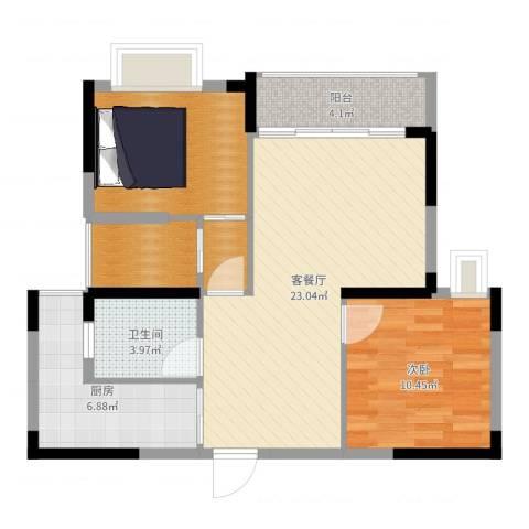 春华星运城1室2厅1卫1厨78.00㎡户型图