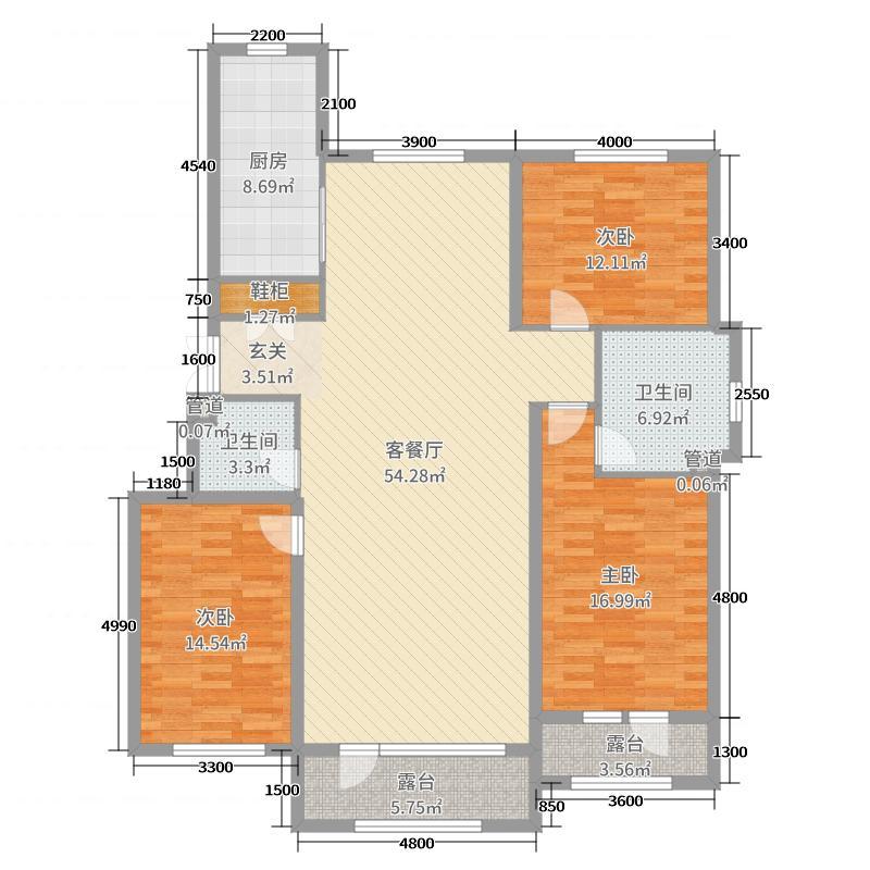 祥宇-上品159.09㎡户型3室3厅2卫1厨
