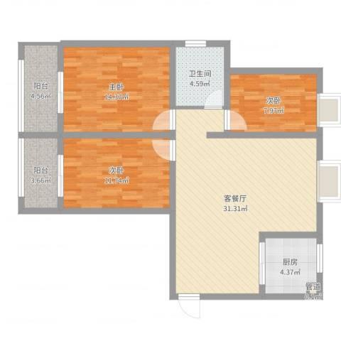 月星公馆3室2厅1卫1厨103.00㎡户型图