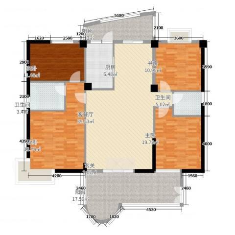 金海湾1834室2厅2卫1厨183.00㎡户型图