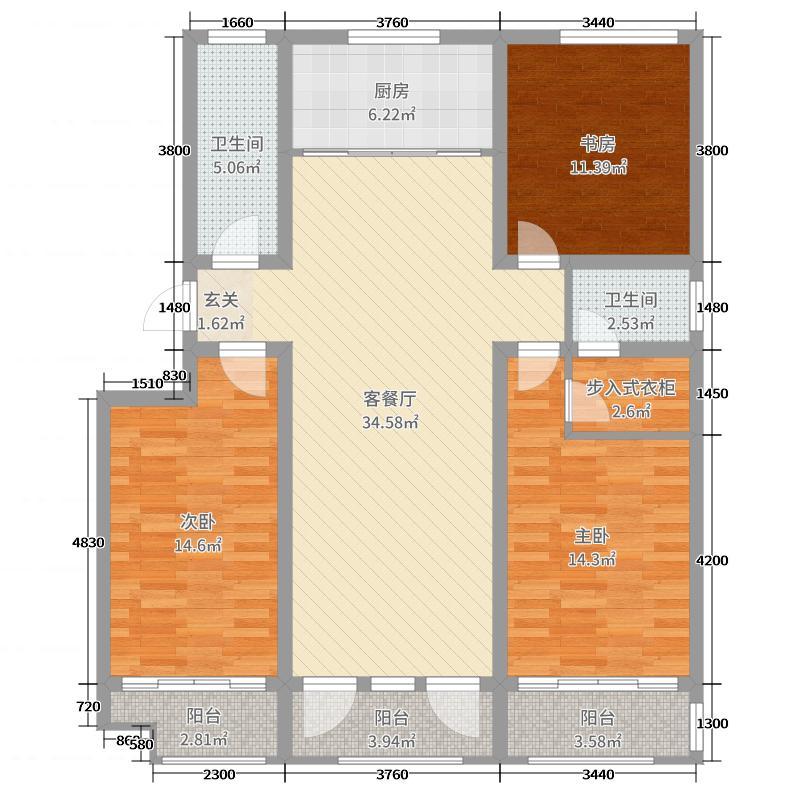 泰华金泰广场127.00㎡二期金泰名苑多层B户型3室3厅2卫1厨
