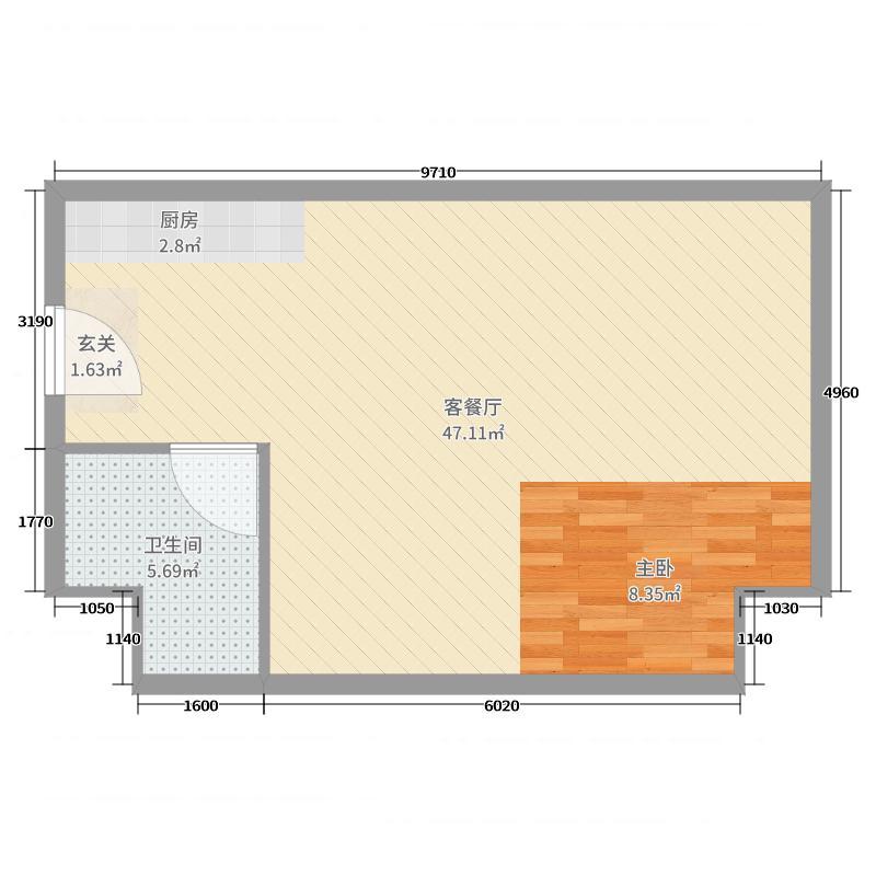 泰华金泰广场66.02㎡爱地公寓摩卡空间户型2室2厅1卫1厨