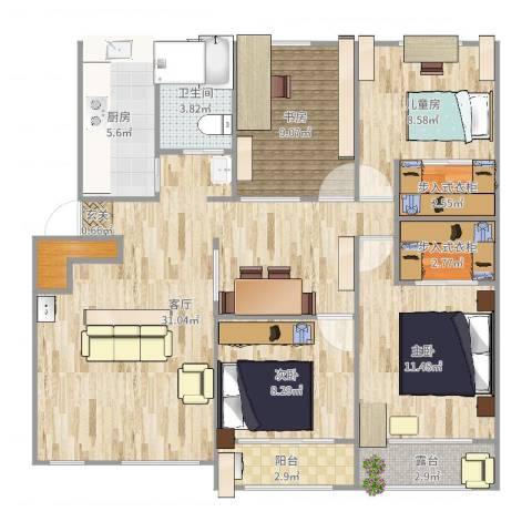 清涧四街坊4室1厅1卫1厨124.00㎡户型图