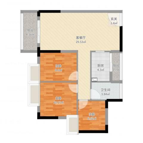 吴川第一城2期3室2厅1卫1厨86.00㎡户型图