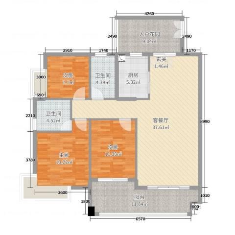 泰湖花园3室2厅2卫1厨110.00㎡户型图