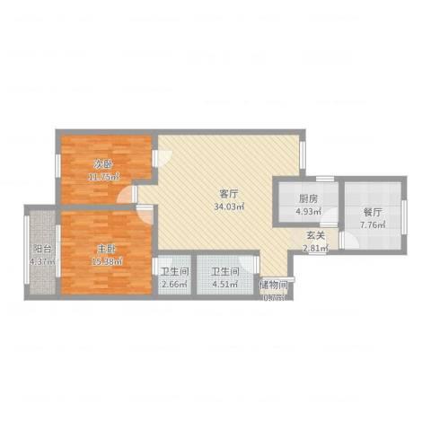 甜水园西里2室2厅2卫1厨108.00㎡户型图
