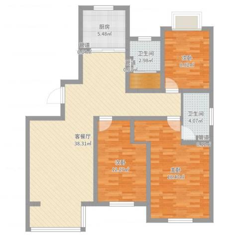 山东东营锦绣龙轩3室2厅2卫1厨115.00㎡户型图