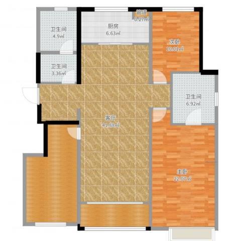 万科麓山(万科天泰金域国际二期)2室1厅3卫1厨144.00㎡户型图