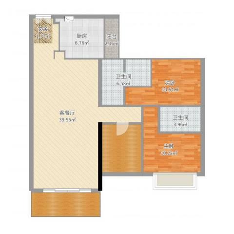 越秀星汇云锦2室2厅2卫1厨117.00㎡户型图