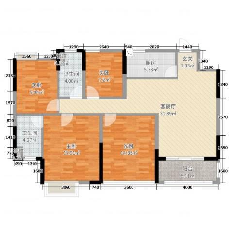 怡丰翠云轩二期4室2厅2卫1厨110.00㎡户型图