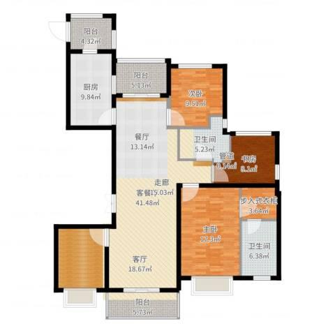 中房颐园3室2厅2卫1厨157.00㎡户型图