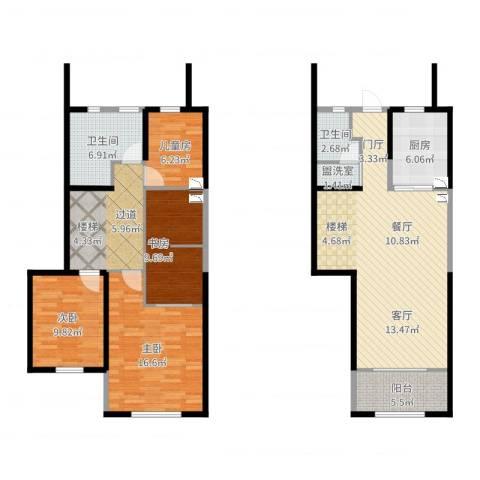 天朗蔚蓝东庭4室2厅4卫1厨134.00㎡户型图
