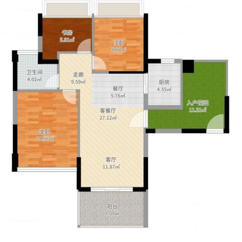 碧水龙庭3室2厅1卫1厨118.00㎡户型图