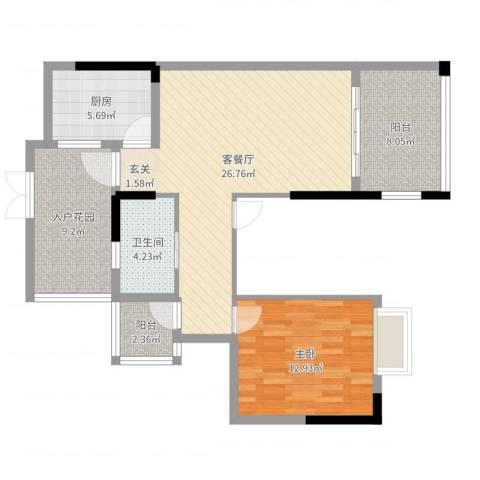 滨江一号1室2厅1卫1厨87.00㎡户型图